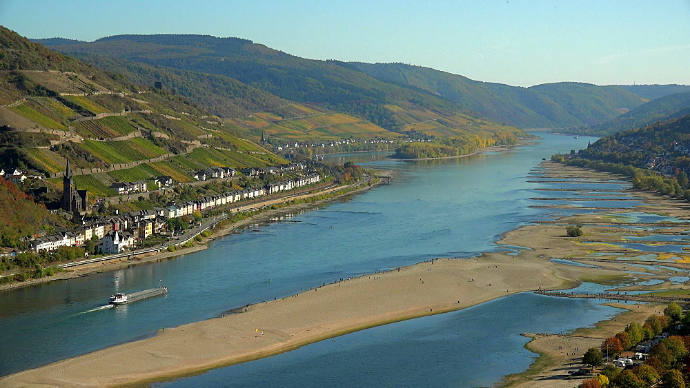 Rhine River at low water near Bacharach, Rhineland-Palatinate, Germany