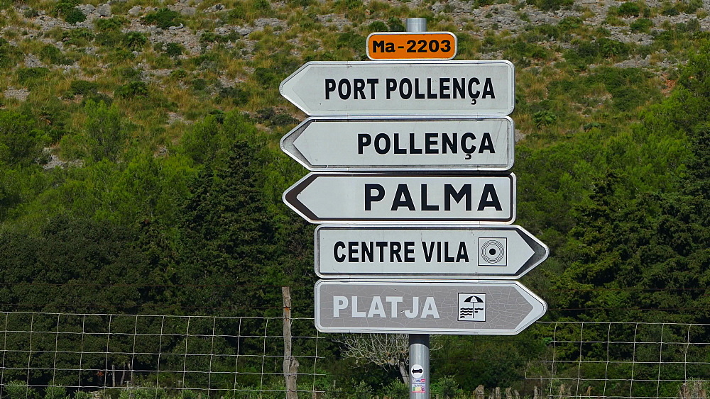 Signs in Cala San Vicente, Mallorca, Balearic Islands, Spain, Mediterranean, Europe