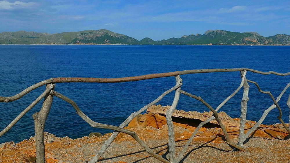 View from Punta Larga across the Bay of Pollenca towards Cap de Formentor, Alcudia, Victoria Peninsula, Mallorca, Balearic Islands, Spain, Mediterranean, Europe