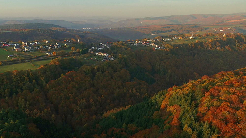 Drone view of woodland in autumn, Saarburg, Rhineland Palatinate, Germany, Europe