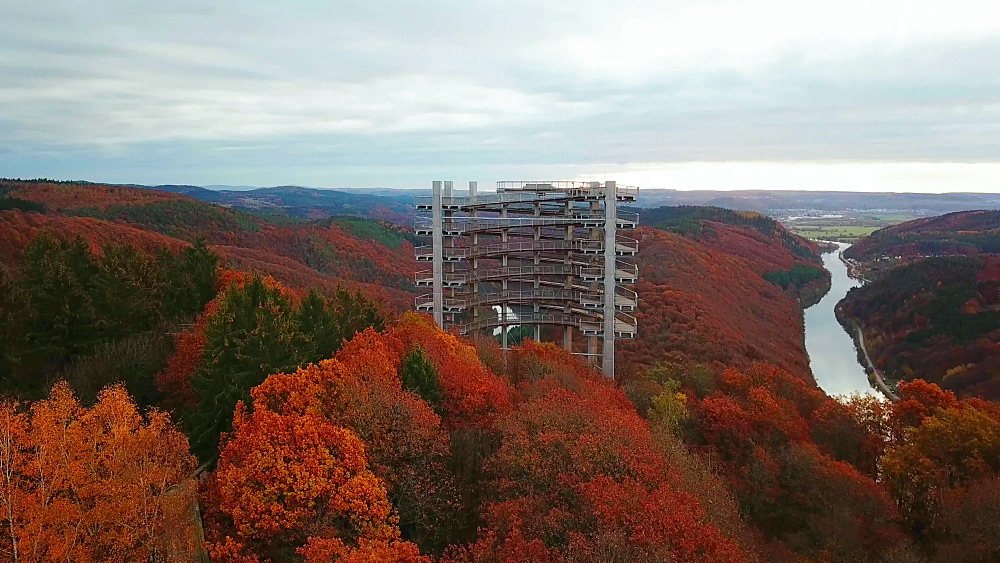Treetop Walk, Saarschleife at Cloef Viewpoint in Orscholz and Saar River Bend, Mettlach, Saarland, Germany, Europe