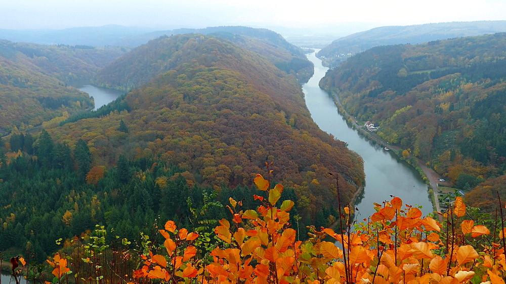 Cloef Viewpoint in Orscholz and Saar River Bend, Mettlach, Saarland, Germany, Europe