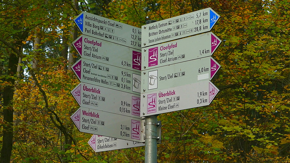 Signs at Cloef Viewpoint in Orscholz and Saar River Bend, Mettlach, Saarland, Germany, Europe
