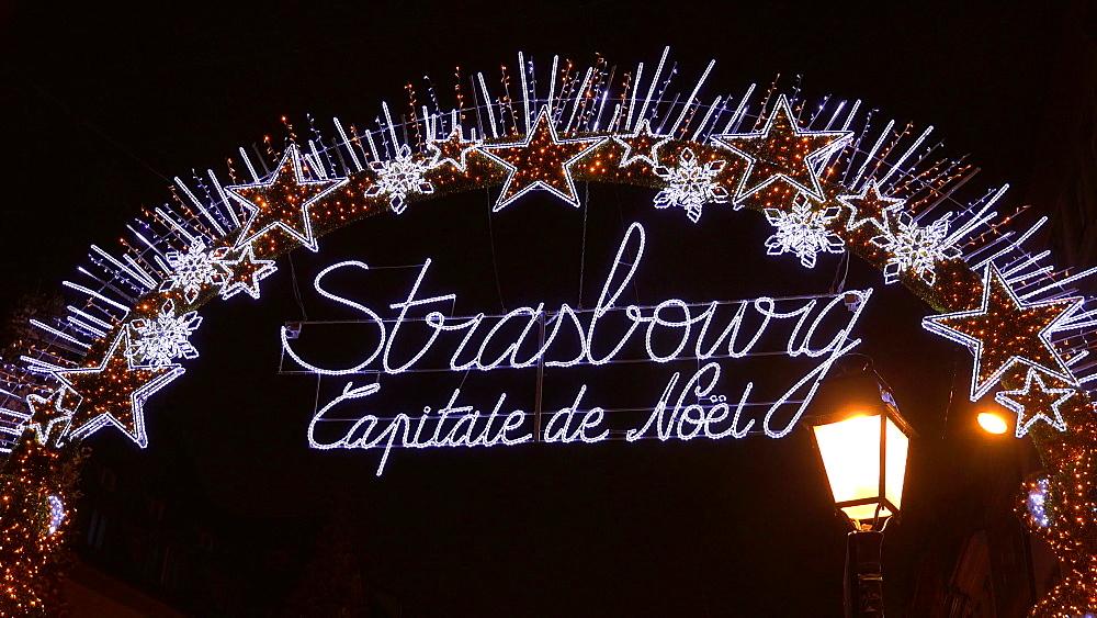Christmas decoration in Strasbourg, Bas-Rhin, Alsace, France, Europe