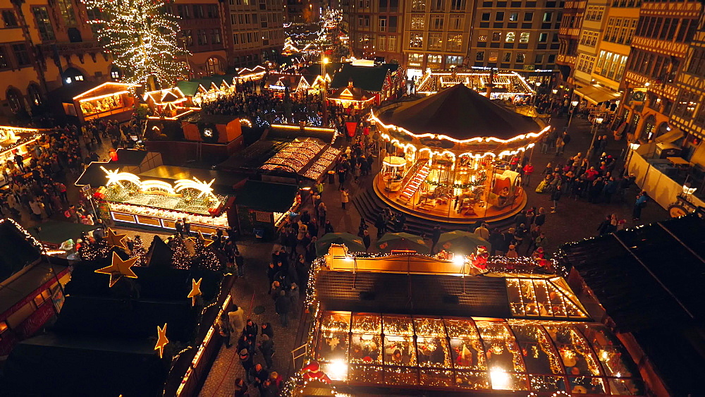 Christmas market at Roemer Square, Frankfurt, Main, Hesse, Germany, Europe