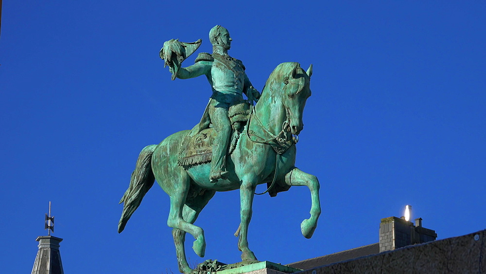 Equestrian statue of Grand DUKe William II on Place Guillaume II Square, Luxembourg City, Grand Duchy of Luxembourg, Europe