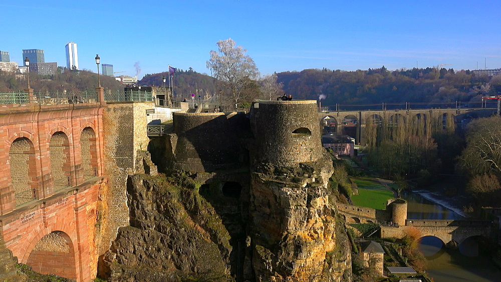 Castle Bridge and Bock Casemates, Luxembourg City, Grand Duchy of Luxembourg, Europe