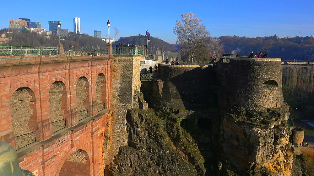 Castle Bridge and Bock Casemates, Luxembourg City, Grand Duchy of Luxembourg, Europe - 396-10796