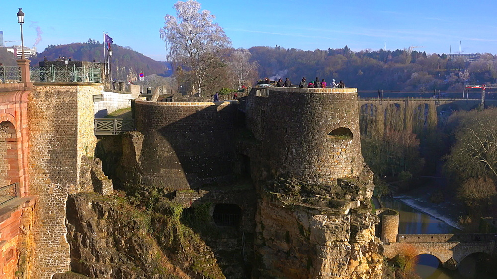 Castle Bridge and Bock Casemates, Luxembourg City, Grand Duchy of Luxembourg, Europe - 396-10797