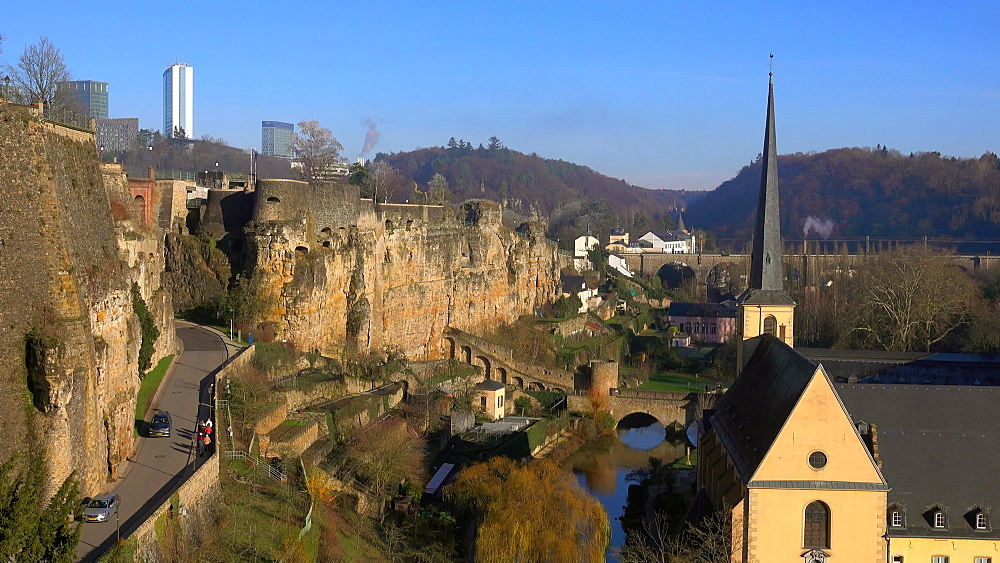Bock Casemates with Alzette Valley and the Neumuenster Abbey, Luxembourg City, Grand Duchy of Luxembourg, Europe