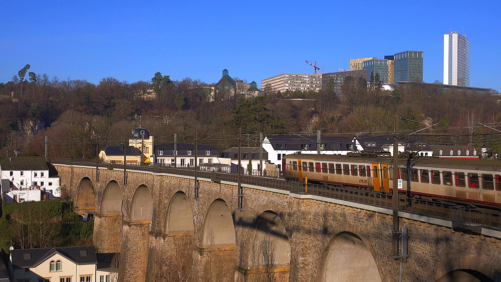 Railway viaduct and Kirchberg, Luxembourg City, Grand Duchy of Luxembourg, Europe