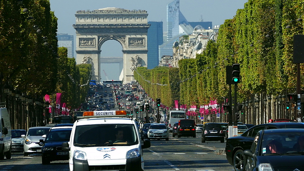 Arc de Triomphe and Champs-Elysees, Paris, France, Europe
