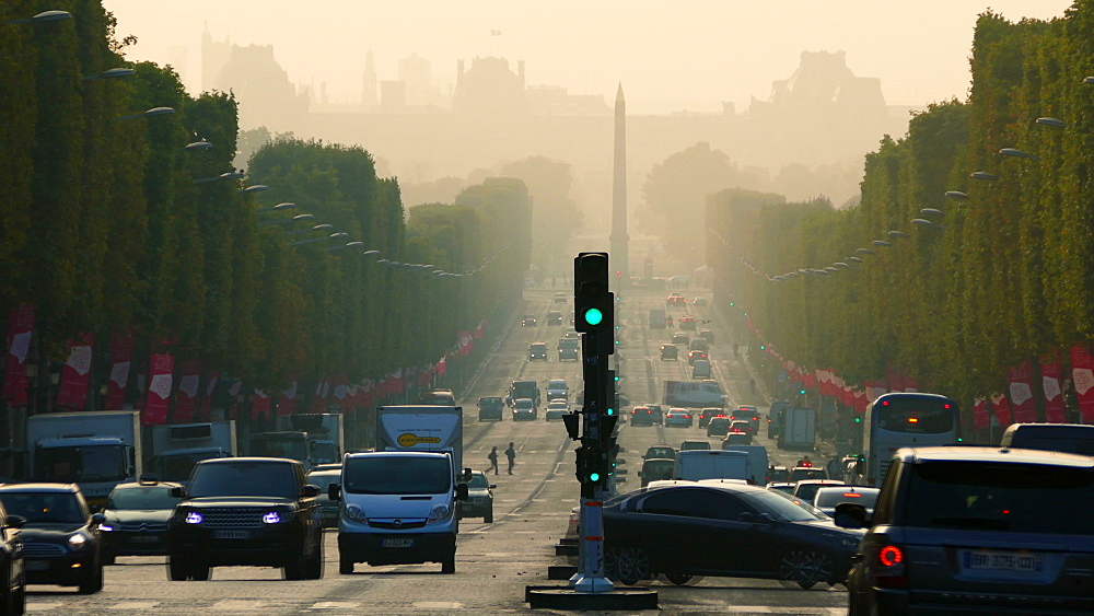 Champs-Elysees and Louvre, Paris, France, Europe