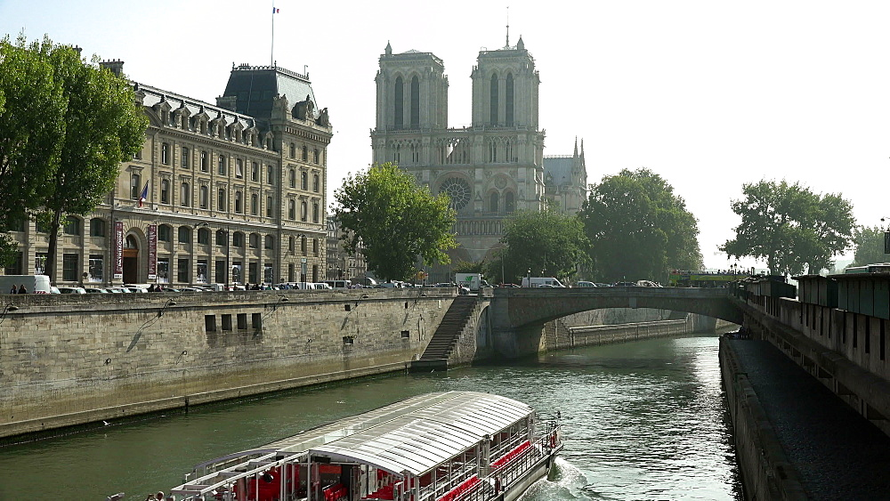 Seine River and Cathedral Notre Dame, Paris, France, Europe - 396-5804