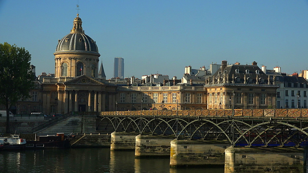 Seine River, Pont des Arts and Institut de France, Paris, France, Europe - 396-5900