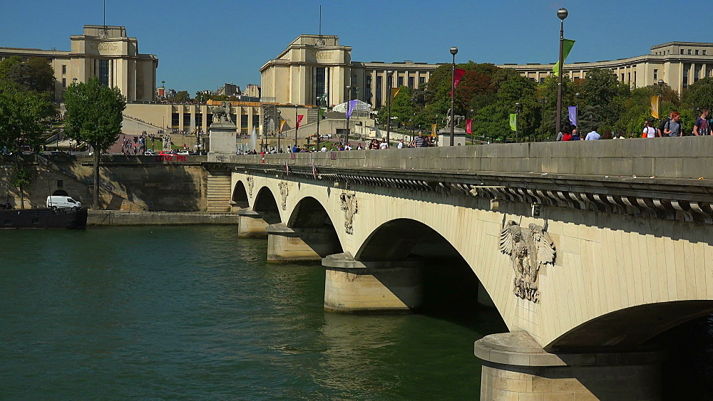 Seine River, Pont L'Iena and Palais de Chaillot, Paris, France, Europe - 396-5907