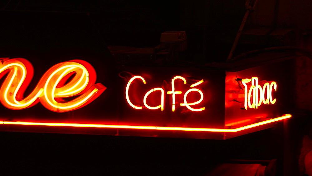 Cafe sign at night, Paris, France, Europe - 396-6001