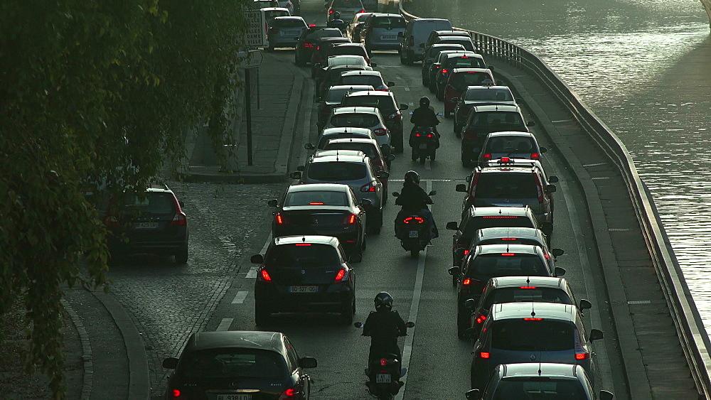Traffic at Voie Georges Pompidou, Paris, France, Europe