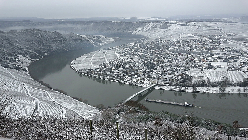 Wine village, Piesport in winter, Moselle River, Rhineland-Palatinate, Germany, Europe - 396-6046