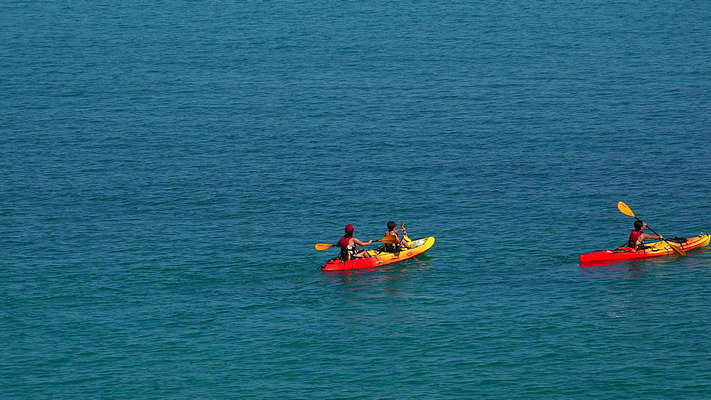 Kayaker on the sea, Cala San Vicente, Majorca, Balearic Islands, Spain, Mediterranean, Europe - 396-6211