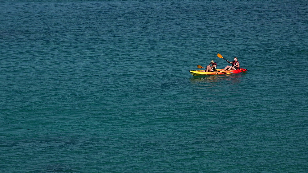 Kayaker on the sea, Cala San Vicente, Majorca, Balearic Islands, Spain, Mediterranean, Europe - 396-6212