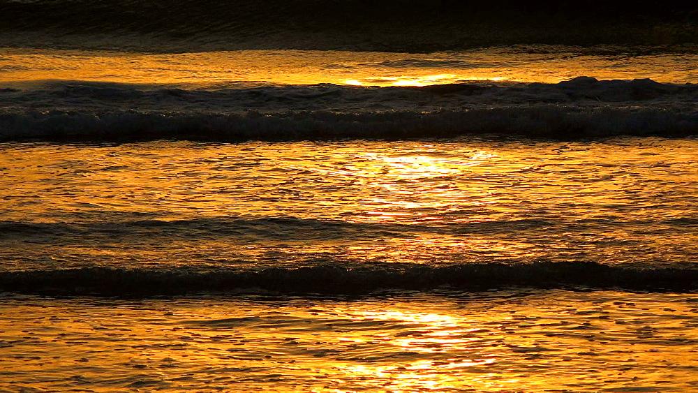 Sea surf in morning light, Playa de Muro, Majorca, Balearic Islands, Spain, Mediterranean, Europe