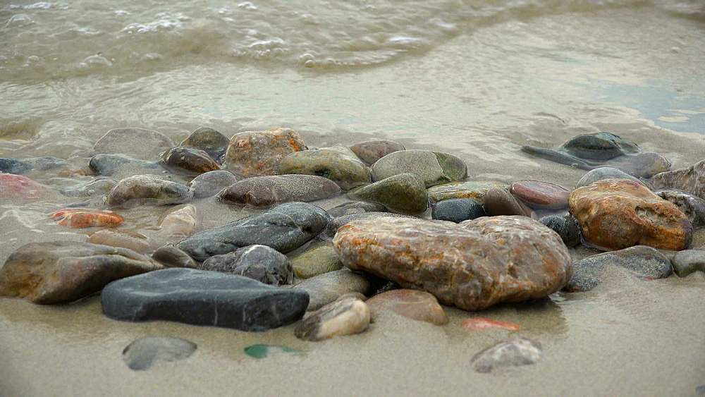 Stones on a sandy beach, Majorca, Balearic Islands, Spain, Mediterranean, Europe - 396-6371