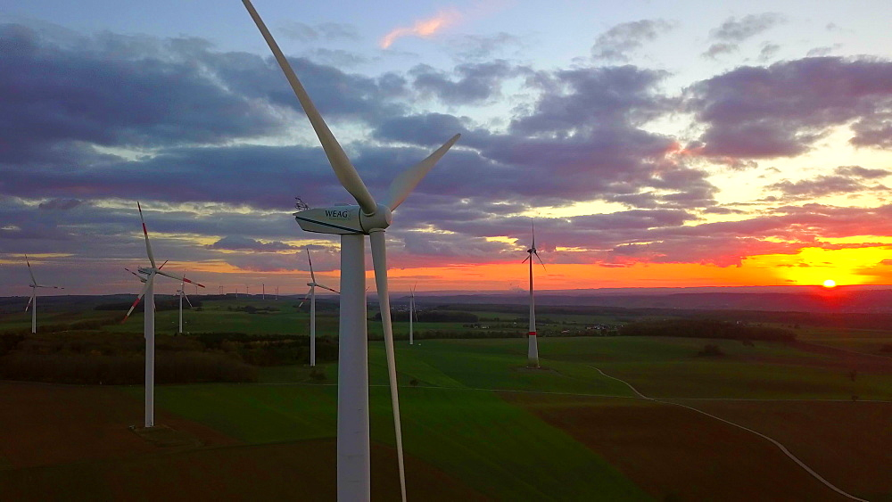 Onshore wind farm at sunset, Kirf, Saargau, Rhineland-Palatinate, Germany, Europe - 396-6443