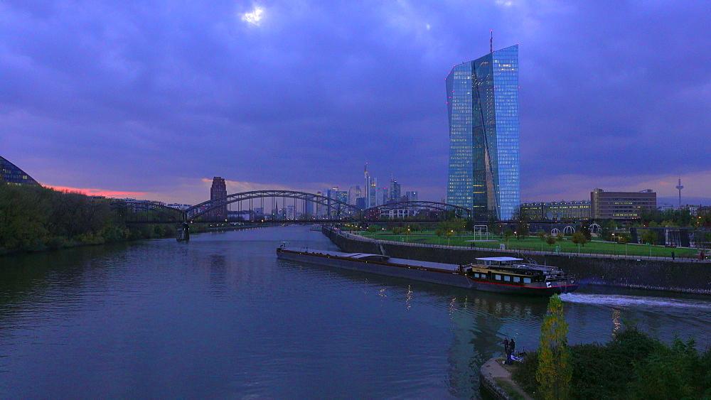 Frankfurt, Main River, European Central Bank and skyline, Frankfurt am Main, Hesse, Germany, Europe