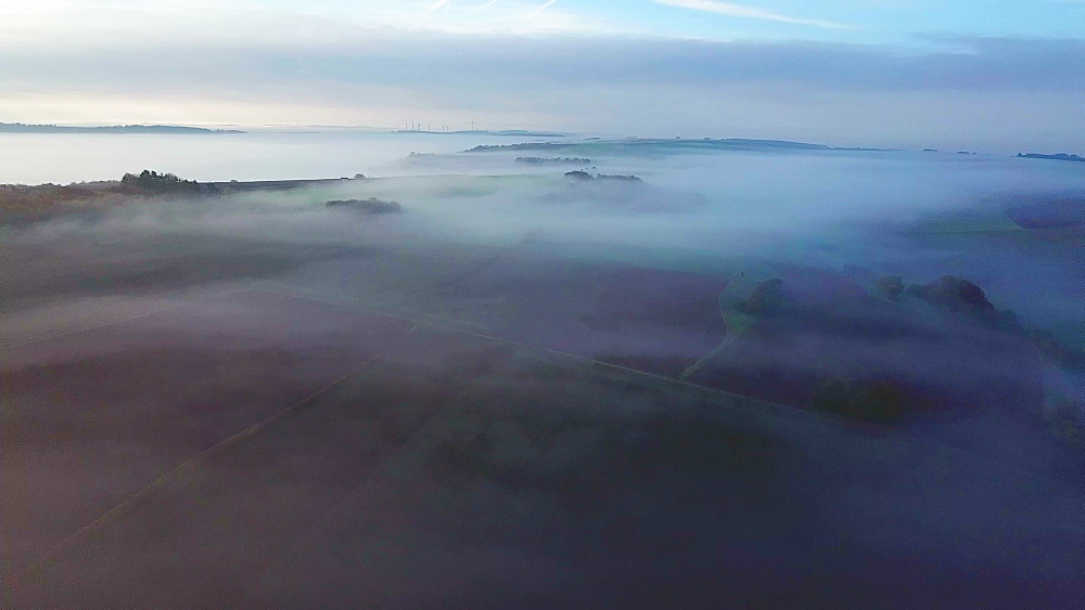 Aerial view of a foggy landscape in autumn, Onsdorf, Saargau, Rhineland-Palatinate, Germany, Europe - 396-7658
