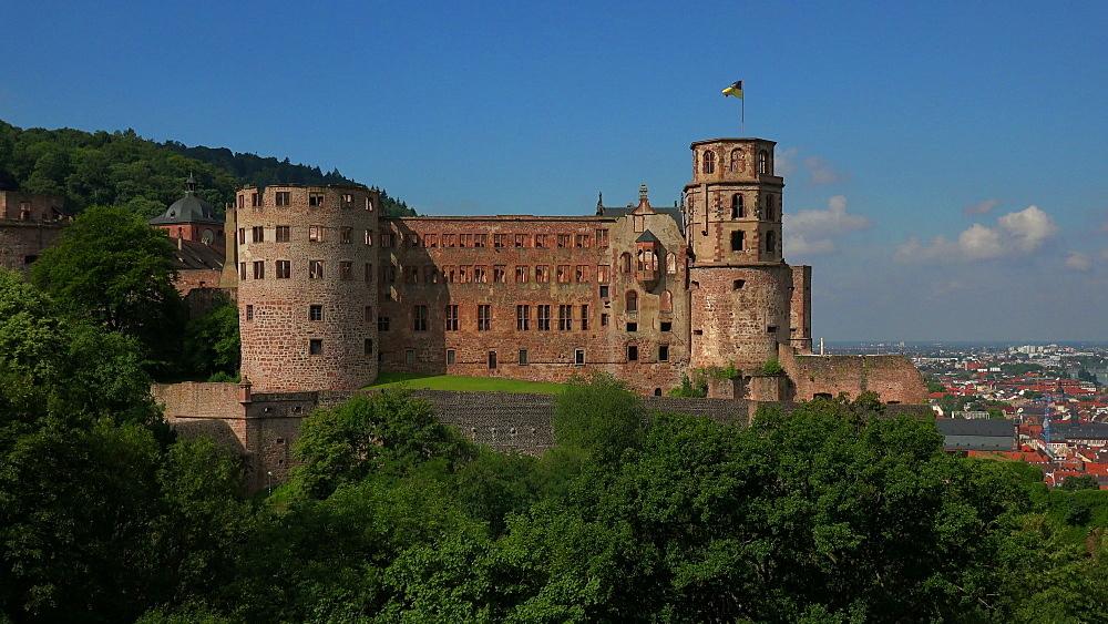 View of castle ruins, Heidelberg, Baden-Wurttemberg, Germany, Europe