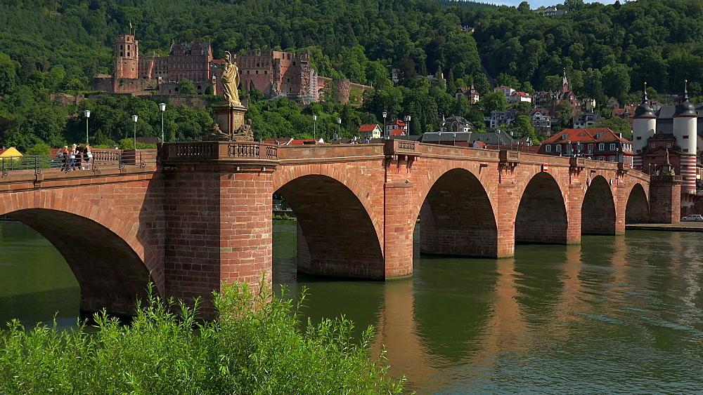 Castle, Old Bridge and Bridge Gate, Neckar River, Heidelberg, Baden-Wurttemberg, Germany, Europe