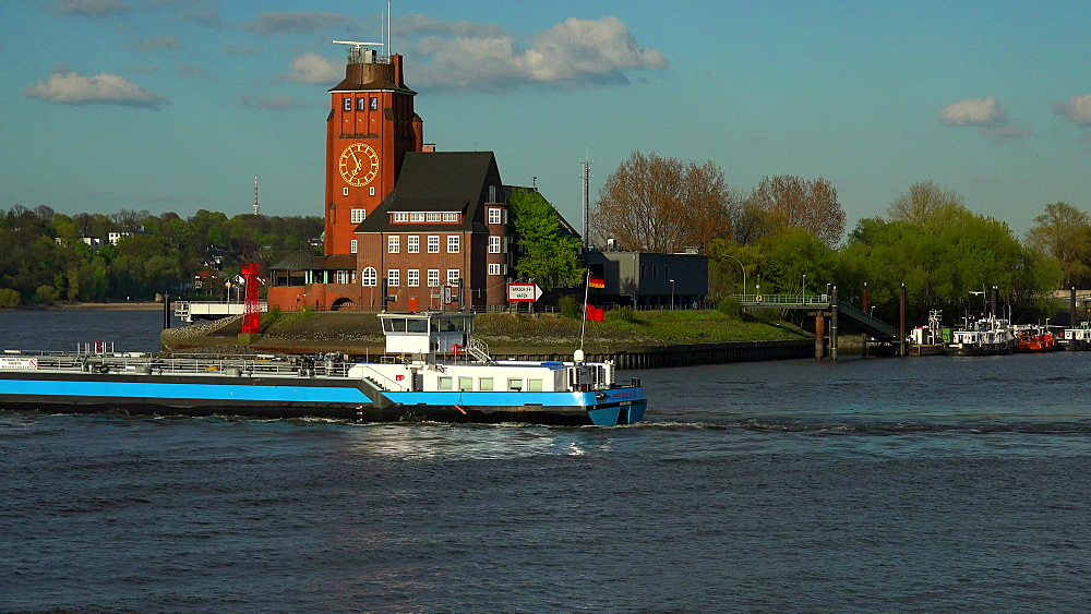 Pilot Station on the Bank of Elbe River, Hamburg, Germany, Europe