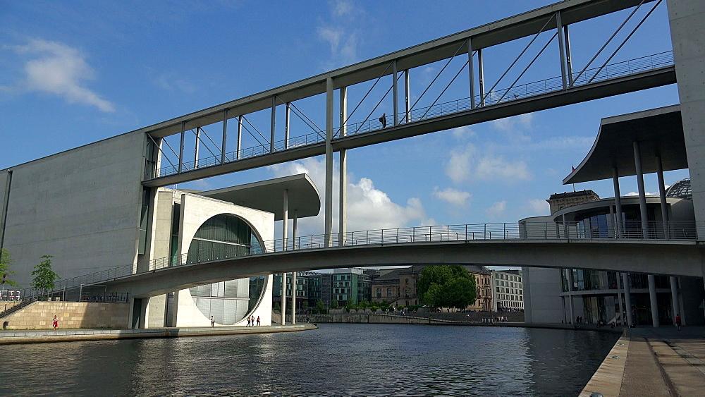 Bridge between Marie Elisabeth Lueders and Paul Loebe Houses, Spree River, Berlin, Germany, Europe