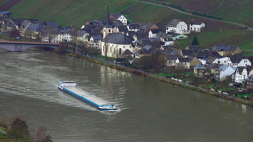 Cargo vessel on Moselle River near Piesport, Moselle Valley, Rhineland-Palatinate, Germany, Europe
