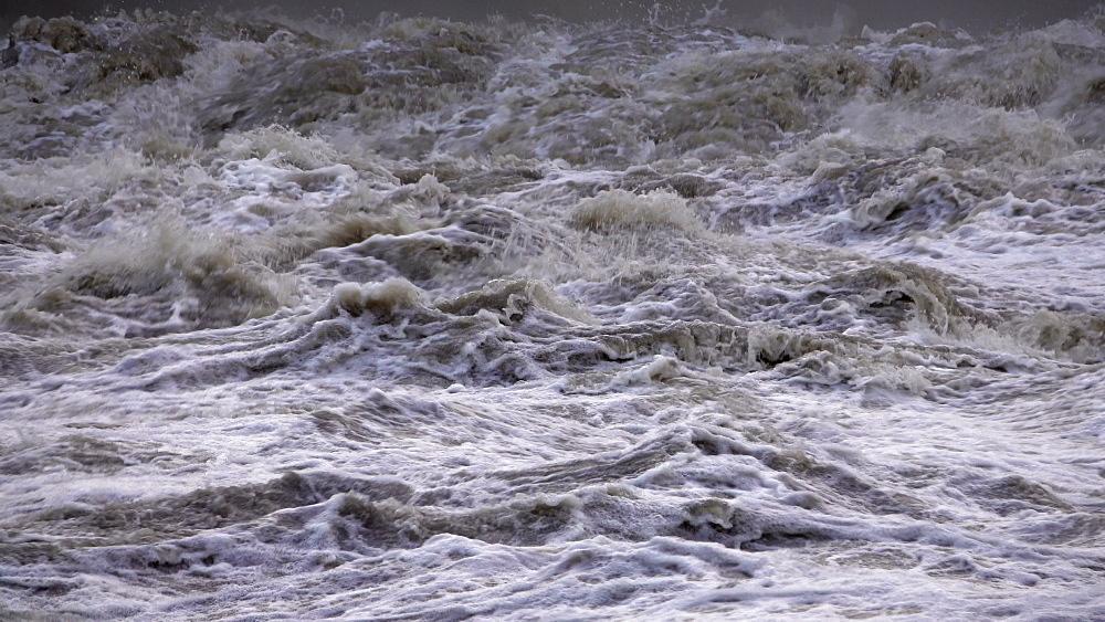 Flood waters at weir, Saar River, Serrig, Rhineland-Palatinate, Germany - 396-8248