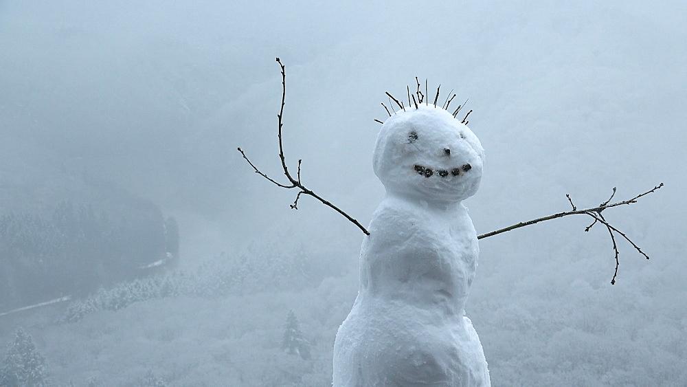 Little snowman at viewpoint Cloef, Mettlach-Orscholz, Saar Valley, Saarland, Germany - 396-8267