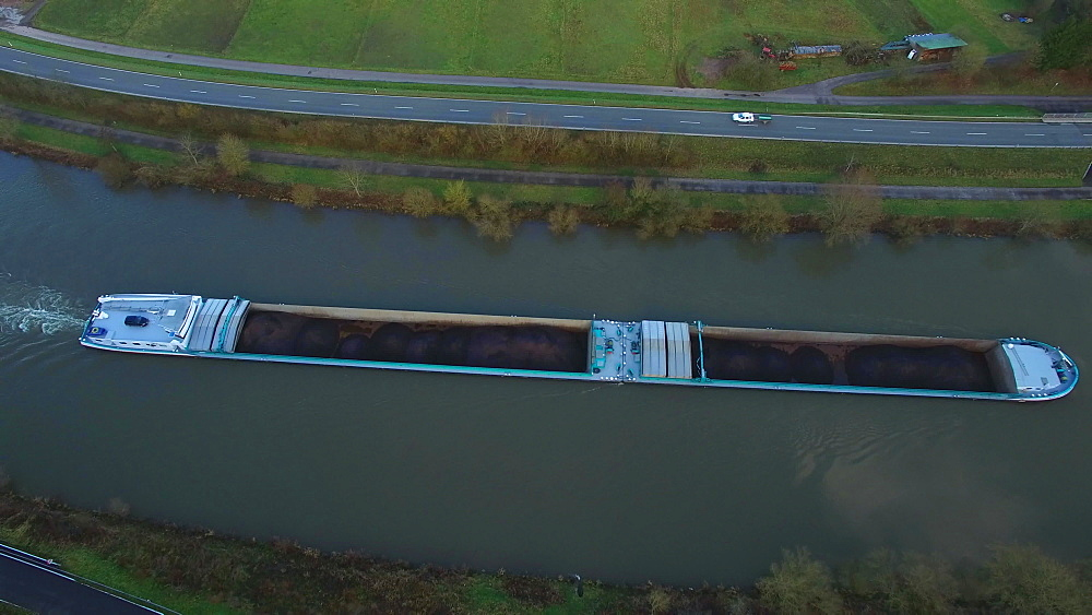 Aerial view of a cargo vessel on Saar River near Serrig, Saar Valley, Rhineland-Palatinate, Germany, Europe - 396-8344