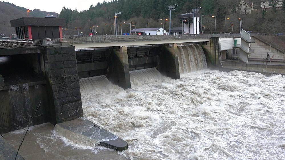 Weir at high water, Saar River, Mettlach, Saarland, Germany - 396-8348