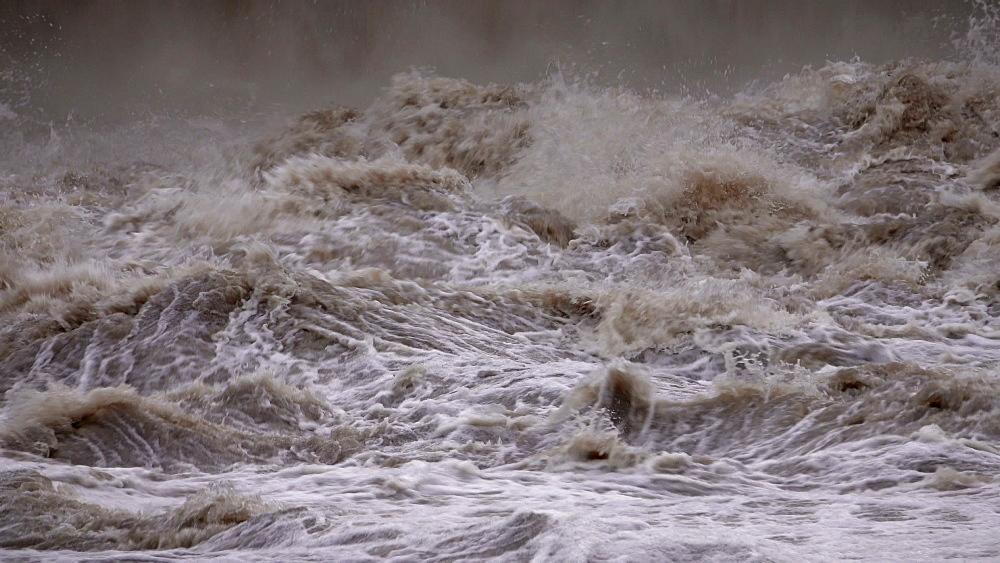 Flood waters at weir, Saar River, Serrig, Rhineland-Palatinate, Germany - 396-8357