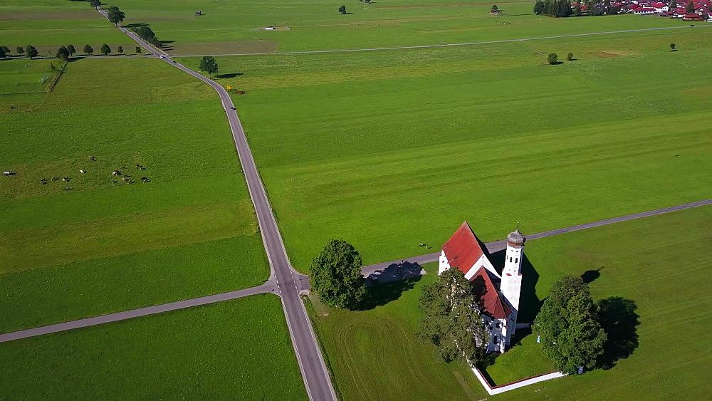 Aerial view of the Pilgrimage Church St. Coloman near Schwangau, Swabia, Allgaeu, Bavaria, Germany - 396-8366