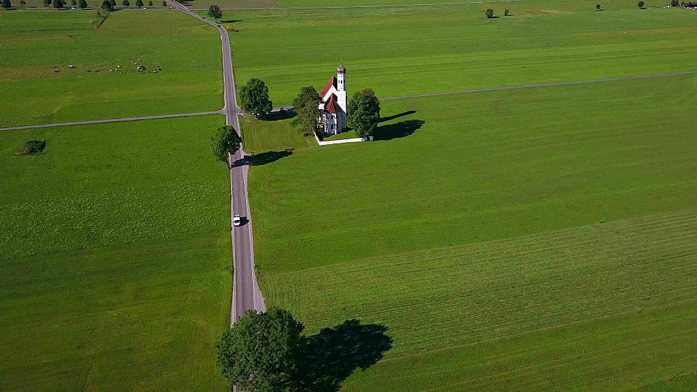 Aerial view of the Pilgrimage Church St. Coloman near Schwangau, Swabia, Allgaeu, Bavaria, Germany - 396-8367