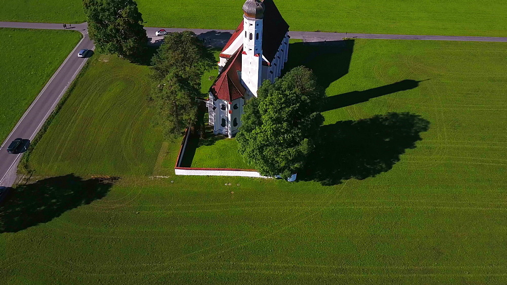 Aerial view of the Pilgrimage Church St. Coloman near Schwangau, Swabia, Allgaeu, Bavaria, Germany - 396-8368