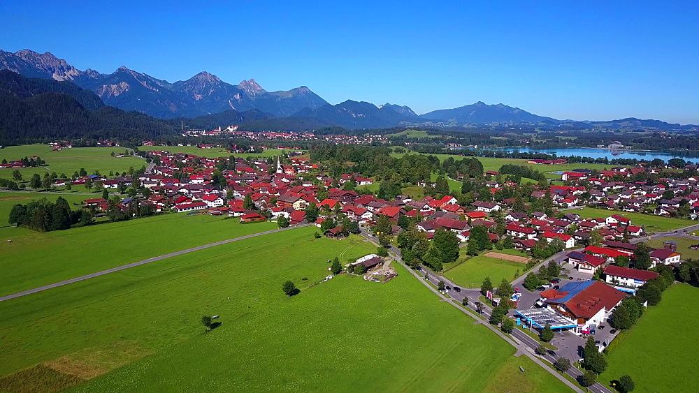 Aerial view of Schwangau near Fuessen, Swabia, Allgaeu, Bavaria, Germany - 396-8369