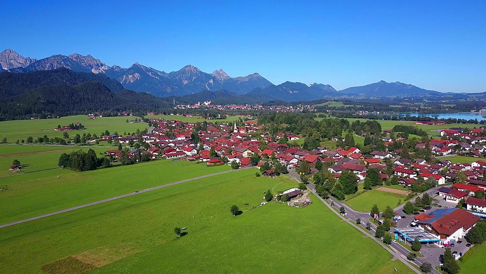 Aerial view of Schwangau near Fuessen, Swabia, Allgaeu, Bavaria, Germany - 396-8370