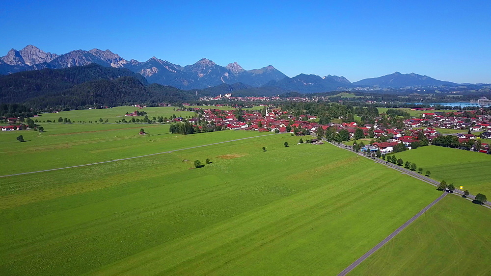 Aerial view of Schwangau near Fussen, Allgau, Swabia, Bavaria, Germany, Europe - 396-8371