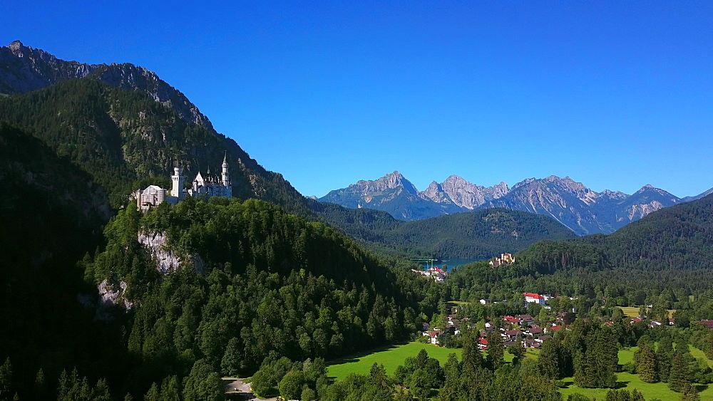 Aerial view of Neuschwanstein and Hohenschwangau Castles near Schwangau, Swabia, Allgaeu, Bavaria, Germany - 396-8373