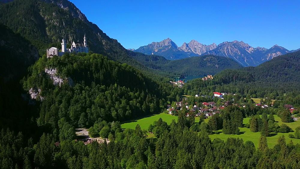 Aerial view of Neuschwanstein and Hohenschwangau Castles near Schwangau, Swabia, Allgaeu, Bavaria, Germany - 396-8377
