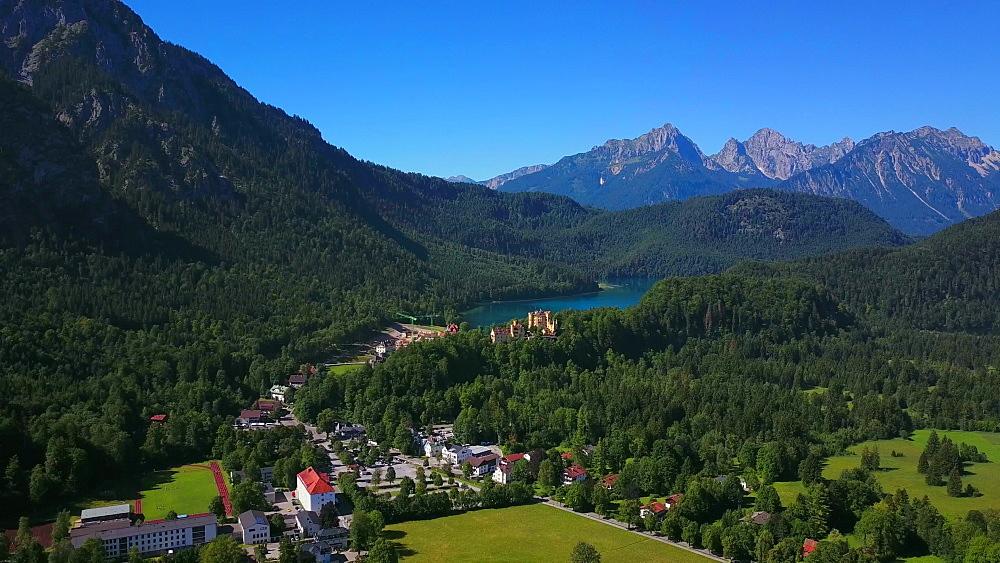 Aerial view of Hohenschwangau Castle and Lake Alpsee near Schwangau, Swabia, Allgaeu, Bavaria, Germany - 396-8379