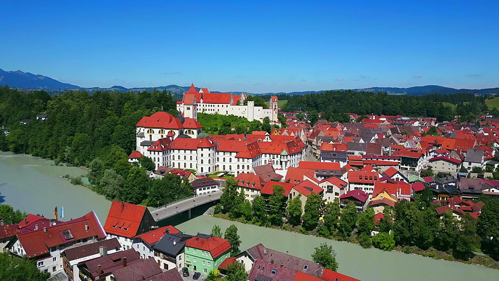 Aerial view of the Monastery of St Mang and High Castle (Hohes Schloss) in F?ssen (Fuessen) am Lech, Allgaeu, Swabia, Bavaria, Germany - 396-8381
